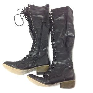 Breckelles Lace Up Black Knee High Boots Size 8-5
